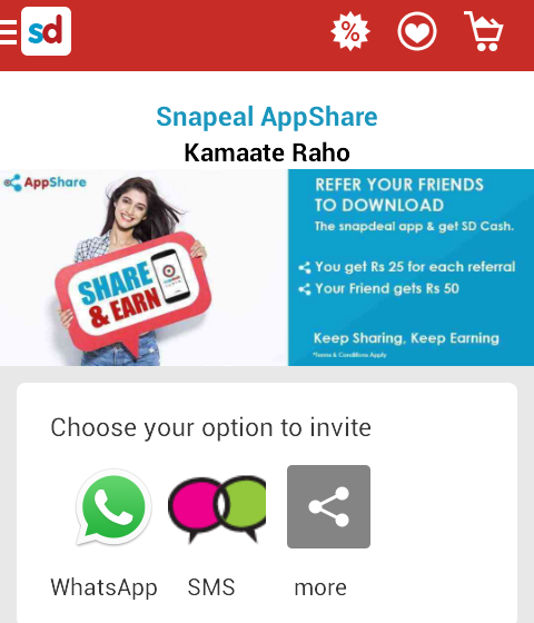 22cd04f23 Snapdeal App Refer   Earn   Rs 150 Referral Code 2019